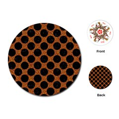 Circles2 Black Marble & Rusted Metal Playing Cards (round)  by trendistuff