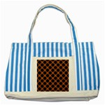 CIRCLES2 BLACK MARBLE & RUSTED METAL Striped Blue Tote Bag