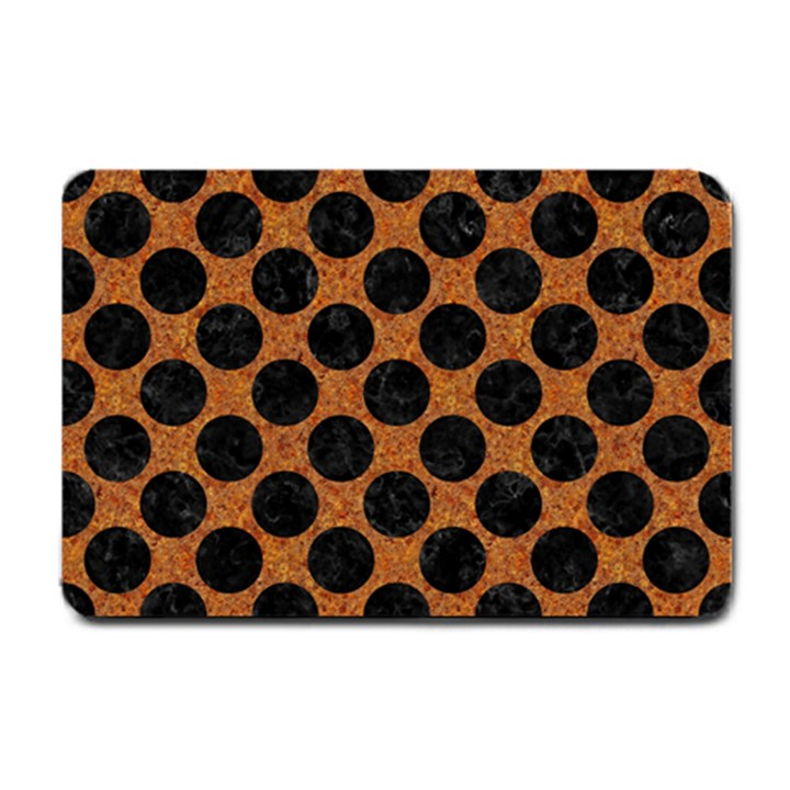 CIRCLES2 BLACK MARBLE & RUSTED METAL Small Doormat