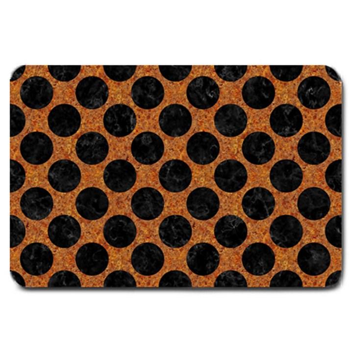 CIRCLES2 BLACK MARBLE & RUSTED METAL Large Doormat