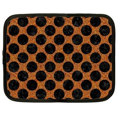 Circles2 Black Marble & Rusted Metal Netbook Case (large) by trendistuff