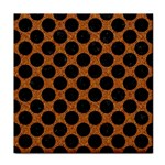 CIRCLES2 BLACK MARBLE & RUSTED METAL Face Towel Front
