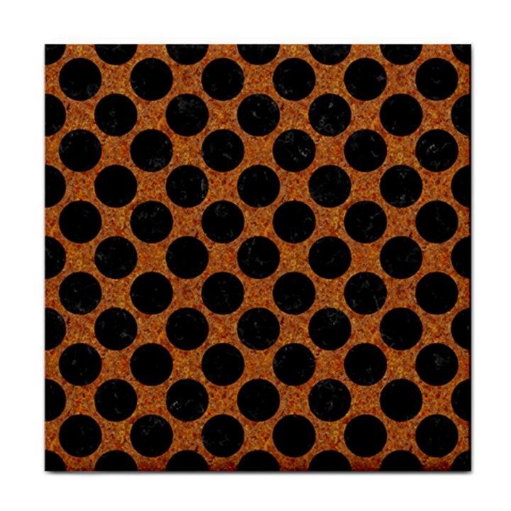 CIRCLES2 BLACK MARBLE & RUSTED METAL Face Towel