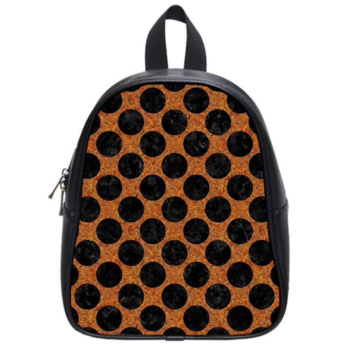 CIRCLES2 BLACK MARBLE & RUSTED METAL School Bag (Small)