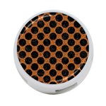 CIRCLES2 BLACK MARBLE & RUSTED METAL 4-Port USB Hub (One Side)