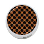 CIRCLES2 BLACK MARBLE & RUSTED METAL 4-Port USB Hub (Two Sides)