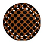 CIRCLES2 BLACK MARBLE & RUSTED METAL Round Filigree Ornament (Two Sides)