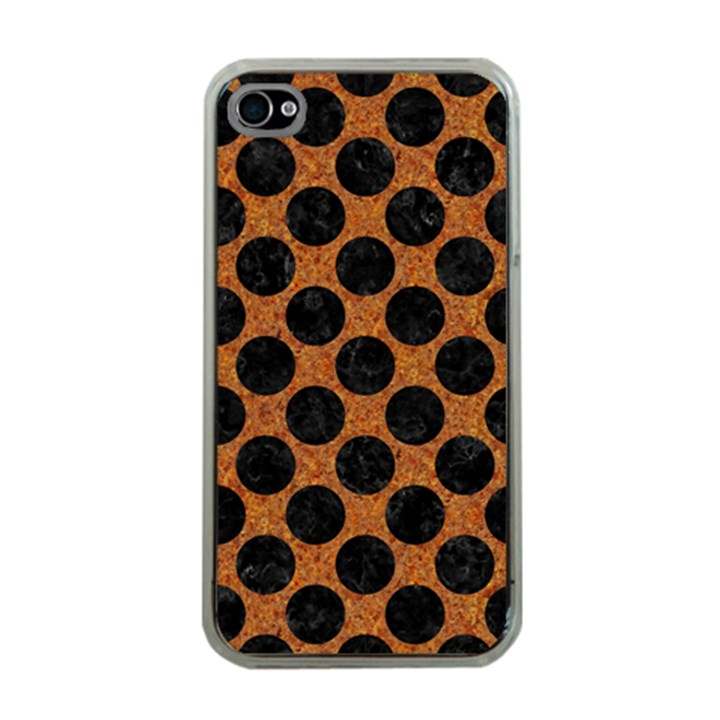 CIRCLES2 BLACK MARBLE & RUSTED METAL Apple iPhone 4 Case (Clear)