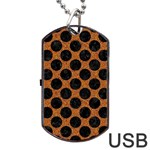 CIRCLES2 BLACK MARBLE & RUSTED METAL Dog Tag USB Flash (One Side)