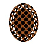CIRCLES2 BLACK MARBLE & RUSTED METAL Oval Filigree Ornament (Two Sides)