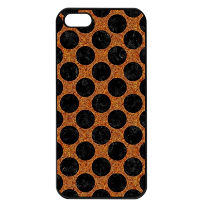 CIRCLES2 BLACK MARBLE & RUSTED METAL Apple iPhone 5 Seamless Case (Black)