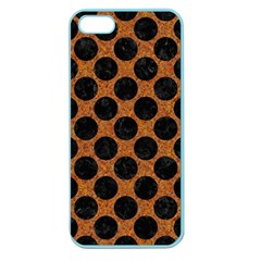Circles2 Black Marble & Rusted Metal Apple Seamless Iphone 5 Case (color) by trendistuff