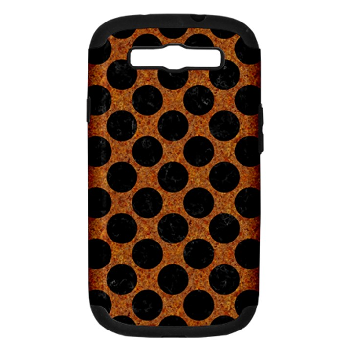 CIRCLES2 BLACK MARBLE & RUSTED METAL Samsung Galaxy S III Hardshell Case (PC+Silicone)