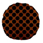 CIRCLES2 BLACK MARBLE & RUSTED METAL Large 18  Premium Round Cushions