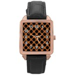 CIRCLES2 BLACK MARBLE & RUSTED METAL Rose Gold Leather Watch