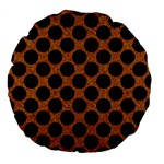CIRCLES2 BLACK MARBLE & RUSTED METAL Large 18  Premium Flano Round Cushions