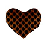 CIRCLES2 BLACK MARBLE & RUSTED METAL Standard 16  Premium Flano Heart Shape Cushions