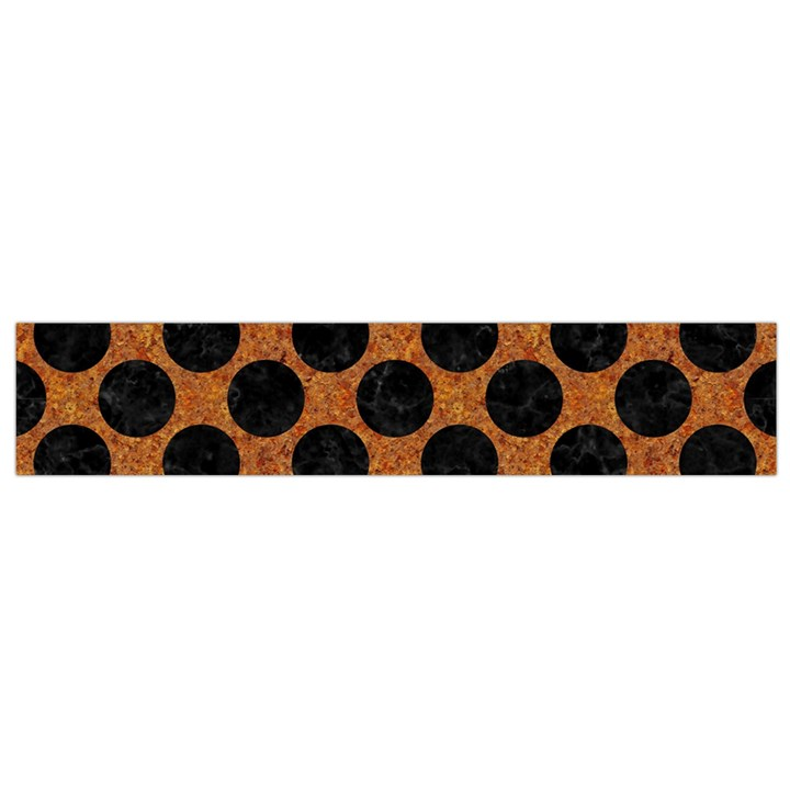 CIRCLES2 BLACK MARBLE & RUSTED METAL Flano Scarf (Small)