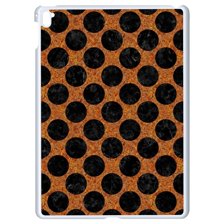 CIRCLES2 BLACK MARBLE & RUSTED METAL Apple iPad Pro 9.7   White Seamless Case