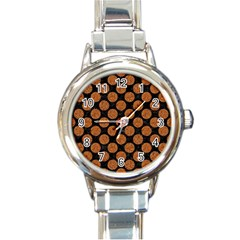 Circles2 Black Marble & Rusted Metal (r) Round Italian Charm Watch by trendistuff