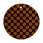 CIRCLES2 BLACK MARBLE & RUSTED METAL (R) Ornament (Round)