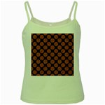 CIRCLES2 BLACK MARBLE & RUSTED METAL (R) Green Spaghetti Tank Front