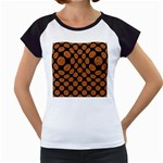 CIRCLES2 BLACK MARBLE & RUSTED METAL (R) Women s Cap Sleeve T Front