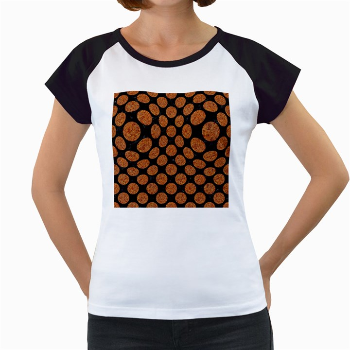 CIRCLES2 BLACK MARBLE & RUSTED METAL (R) Women s Cap Sleeve T