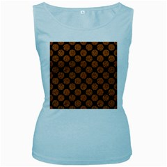 Circles2 Black Marble & Rusted Metal (r) Women s Baby Blue Tank Top
