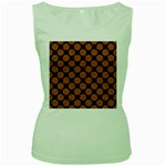CIRCLES2 BLACK MARBLE & RUSTED METAL (R) Women s Green Tank Top
