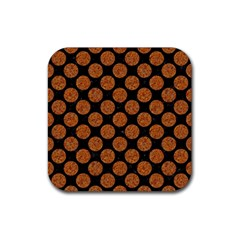 Circles2 Black Marble & Rusted Metal (r) Rubber Square Coaster (4 Pack)  by trendistuff