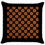 CIRCLES2 BLACK MARBLE & RUSTED METAL (R) Throw Pillow Case (Black)