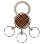 CIRCLES2 BLACK MARBLE & RUSTED METAL (R) 3-Ring Key Chains