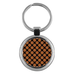 Circles2 Black Marble & Rusted Metal (r) Key Chains (round)  by trendistuff