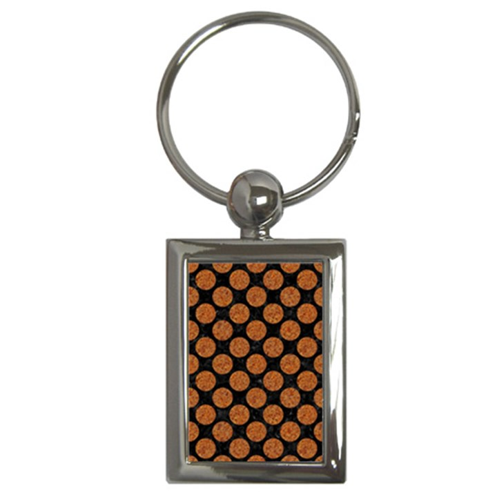 CIRCLES2 BLACK MARBLE & RUSTED METAL (R) Key Chains (Rectangle)