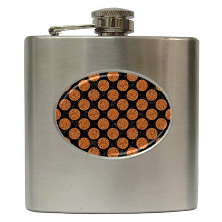 CIRCLES2 BLACK MARBLE & RUSTED METAL (R) Hip Flask (6 oz)