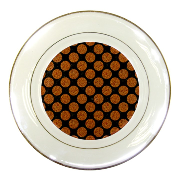 CIRCLES2 BLACK MARBLE & RUSTED METAL (R) Porcelain Plates