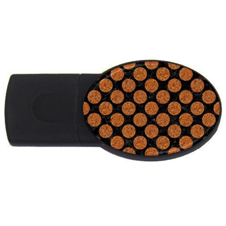 CIRCLES2 BLACK MARBLE & RUSTED METAL (R) USB Flash Drive Oval (4 GB)