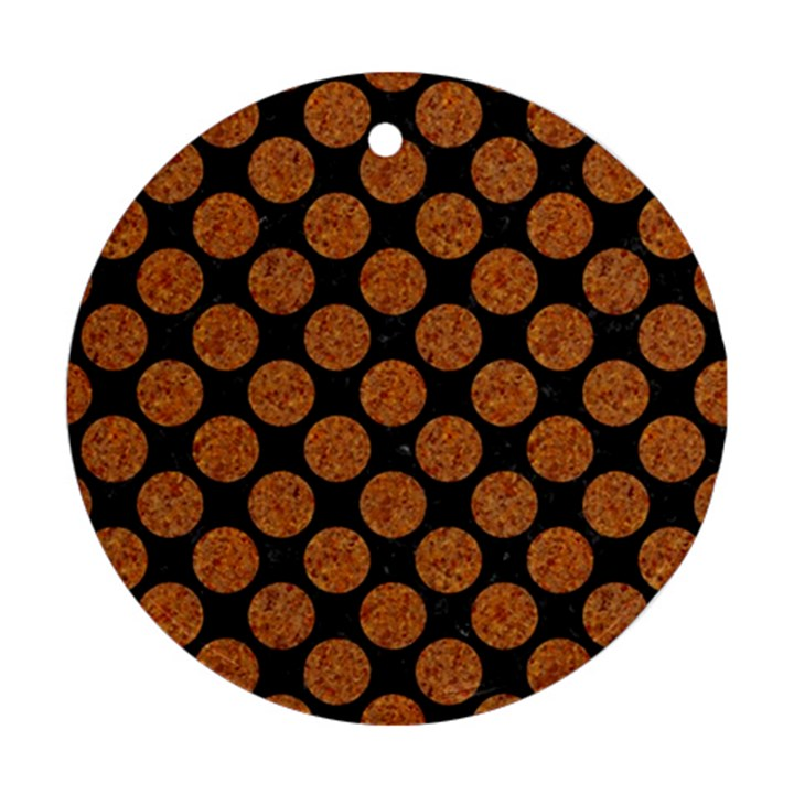 CIRCLES2 BLACK MARBLE & RUSTED METAL (R) Round Ornament (Two Sides)