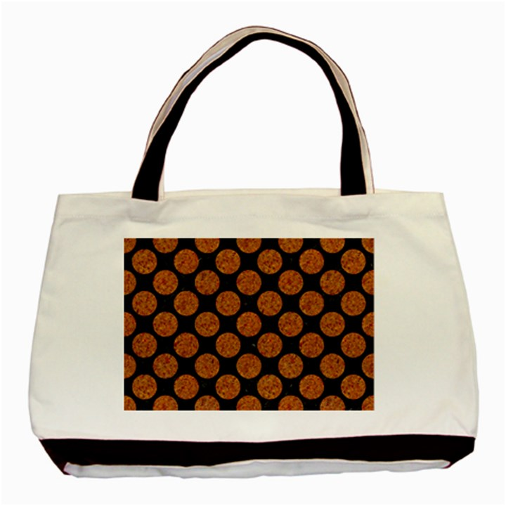 CIRCLES2 BLACK MARBLE & RUSTED METAL (R) Basic Tote Bag (Two Sides)