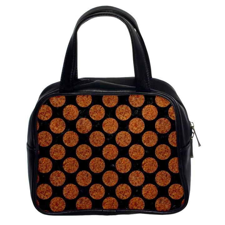 CIRCLES2 BLACK MARBLE & RUSTED METAL (R) Classic Handbags (2 Sides)