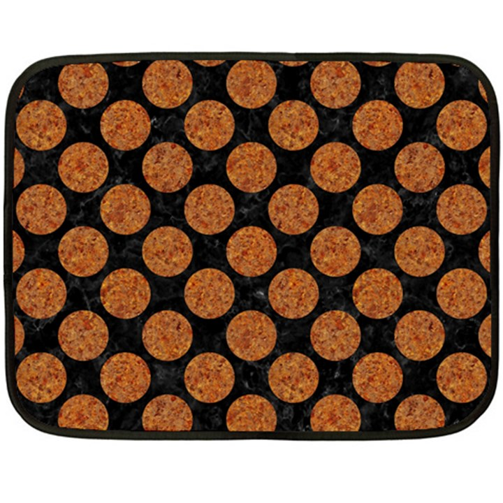 CIRCLES2 BLACK MARBLE & RUSTED METAL (R) Fleece Blanket (Mini)