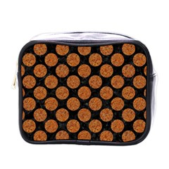 Circles2 Black Marble & Rusted Metal (r) Mini Toiletries Bags