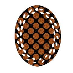 Circles2 Black Marble & Rusted Metal (r) Ornament (oval Filigree) by trendistuff