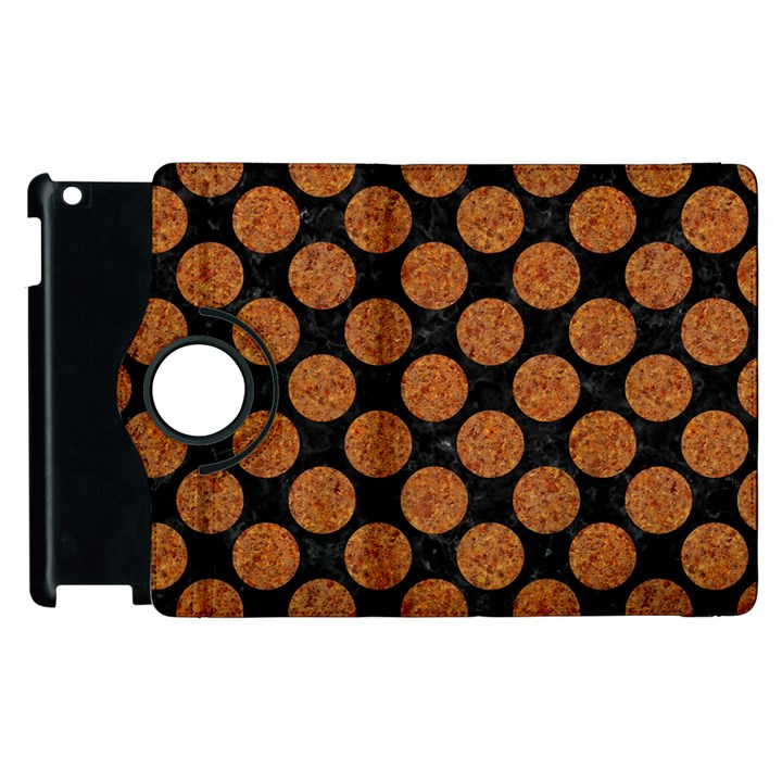 CIRCLES2 BLACK MARBLE & RUSTED METAL (R) Apple iPad 2 Flip 360 Case