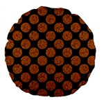 CIRCLES2 BLACK MARBLE & RUSTED METAL (R) Large 18  Premium Round Cushions Back