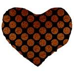 CIRCLES2 BLACK MARBLE & RUSTED METAL (R) Large 19  Premium Heart Shape Cushions