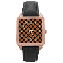 Circles2 Black Marble & Rusted Metal (r) Rose Gold Leather Watch  by trendistuff