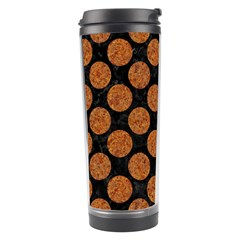 Circles2 Black Marble & Rusted Metal (r) Travel Tumbler by trendistuff