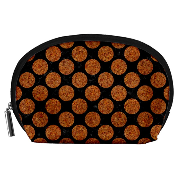 CIRCLES2 BLACK MARBLE & RUSTED METAL (R) Accessory Pouches (Large)
